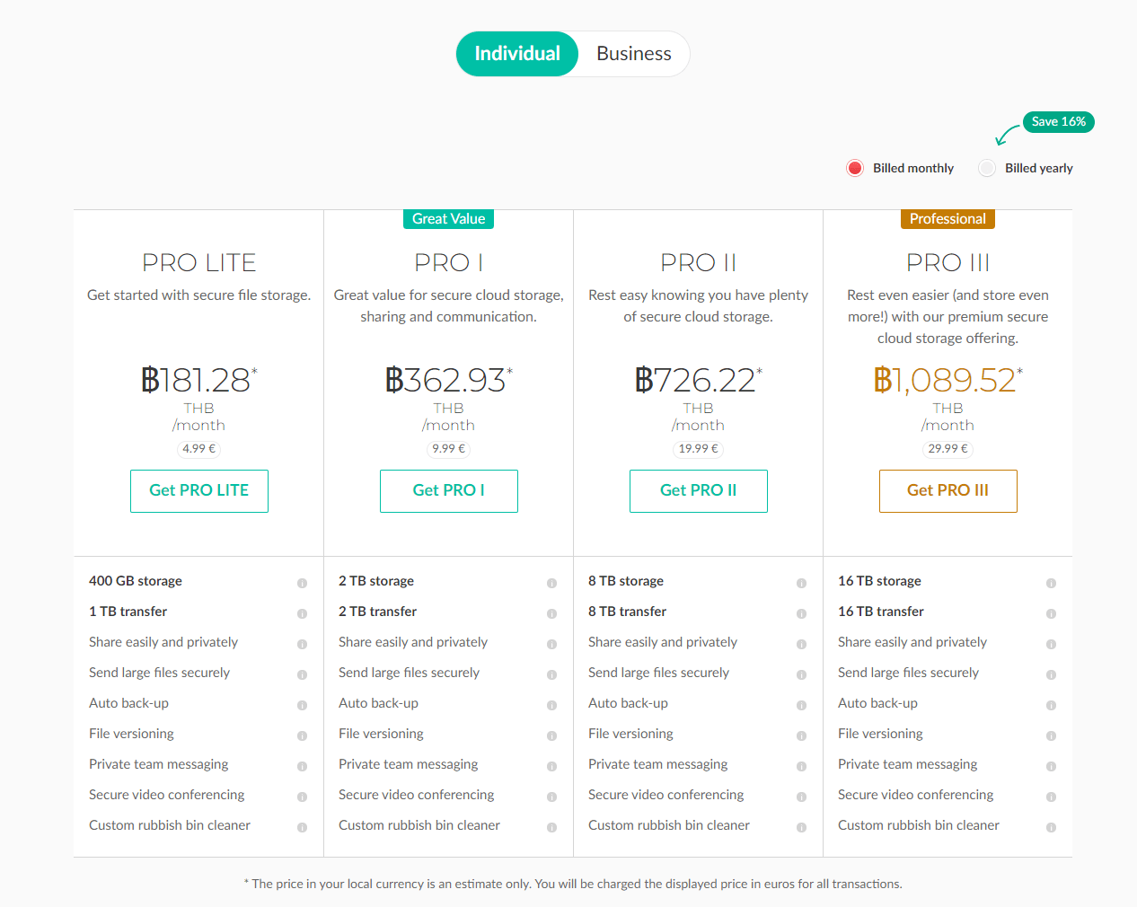 Plans and pricing MEGA
