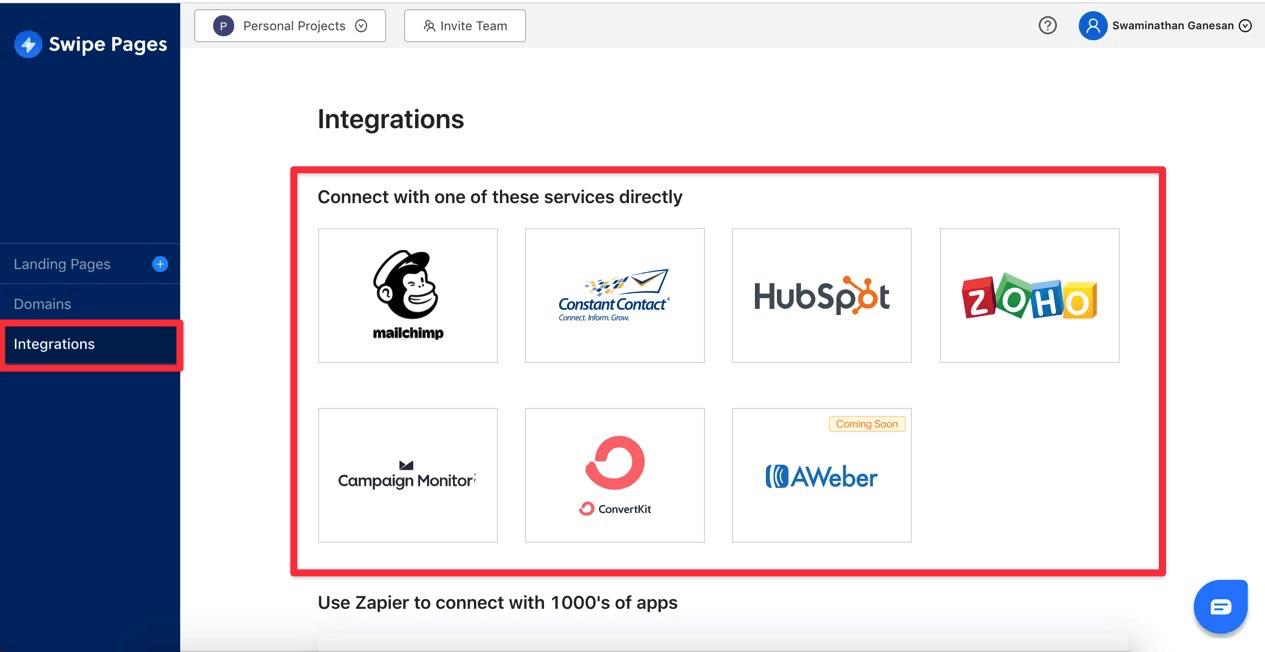 Swipe Page Leads Integrations