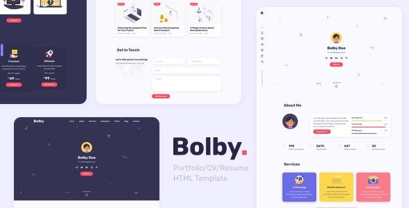bolby portfoliocvresume wordpress theme
