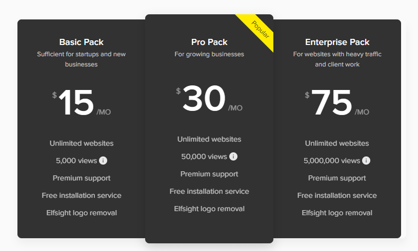 Elfsight Pricing Choose the best plans from free to Enterprise