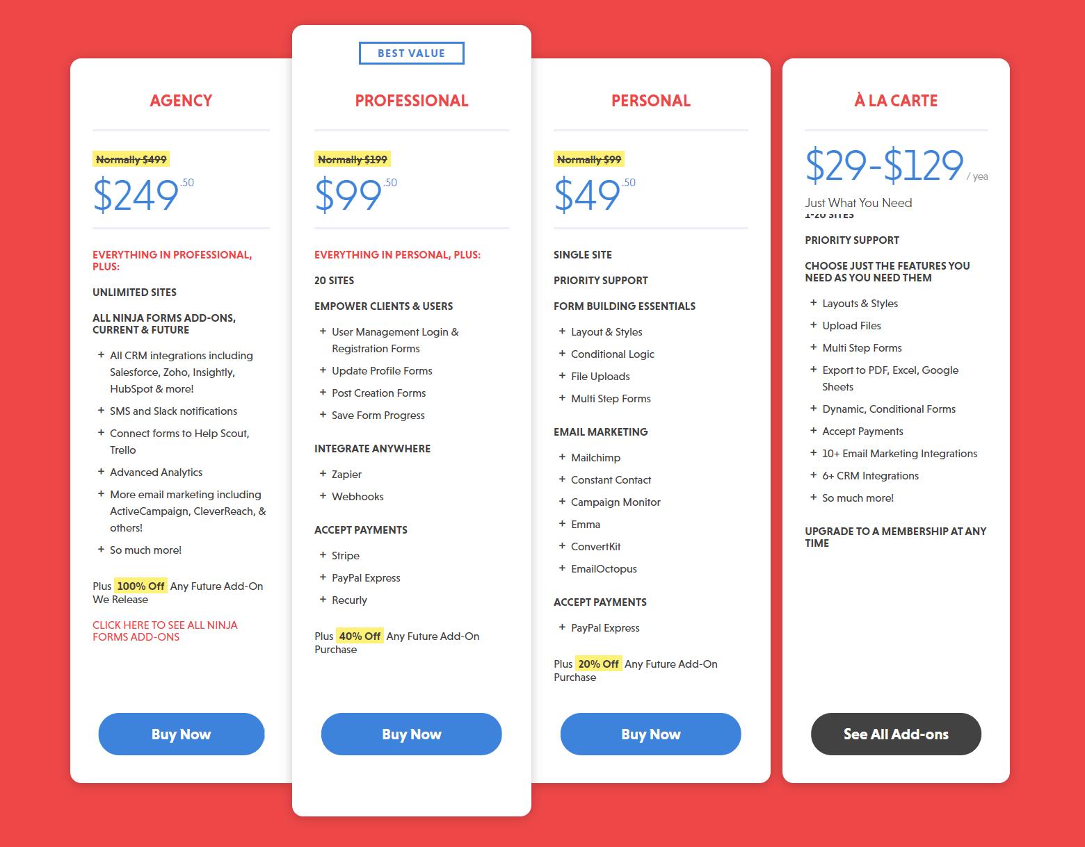 Ninja Forms Price Plan