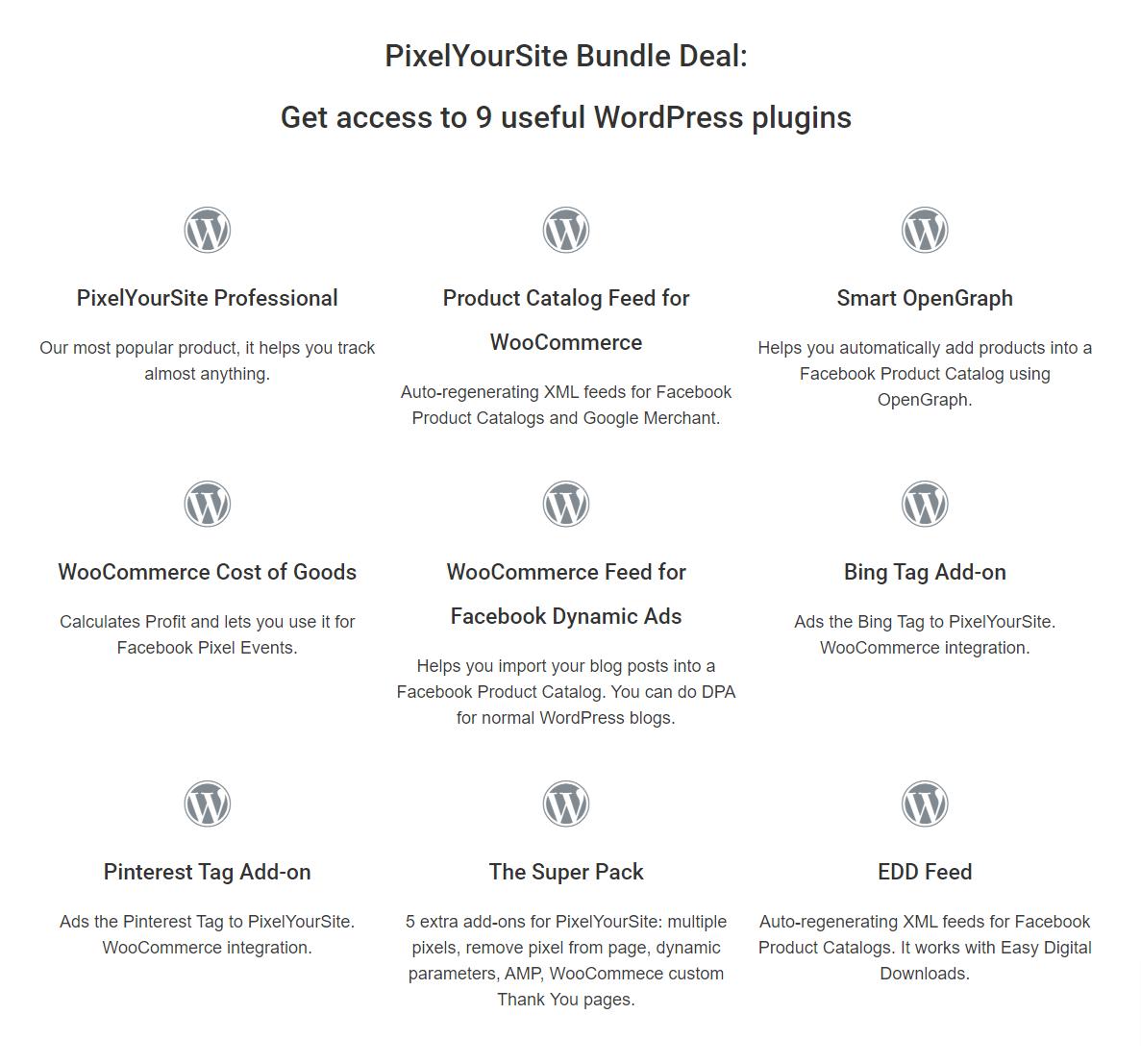 PixelYourSite Bundle Deal Get access to 9 useful WordPress plugins