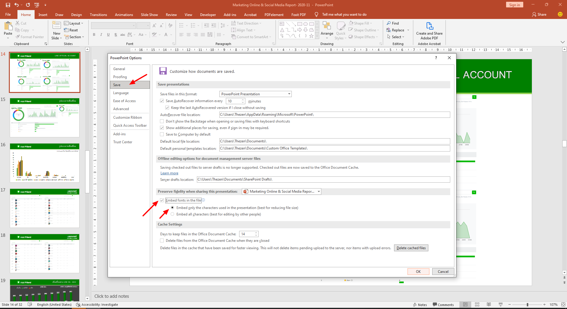 PowerPoint Embed fonts in the file 3