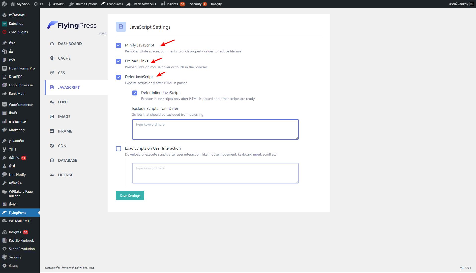 FlyingPress JavaScript Settings